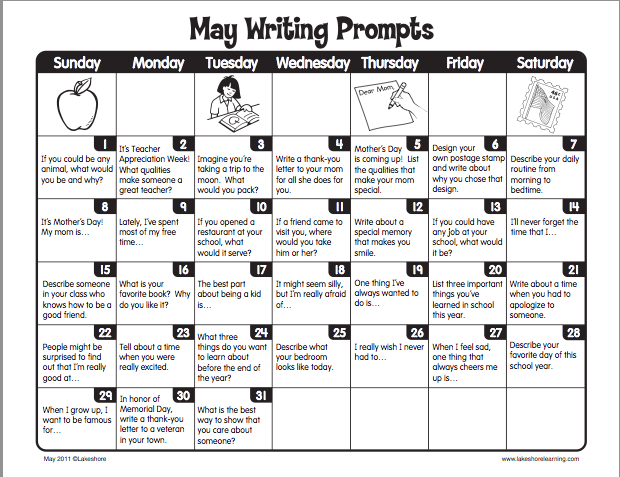 may writing prompts All writing samples were written by my second grade students and were based on a daily calendar prompt students have been trained to write for a specific audience, demonstrate correct paragraph structure, use descriptive phrases as well as adjectives, and to include a title that catches the reader's attention.
