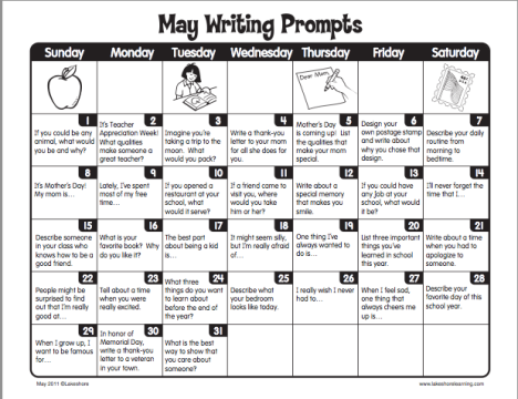 may writing prompts May daily journal prompts: daily journal writing prompts for every day in may themed writing prompts information: writing prompts, journal prompts, writing prompt.