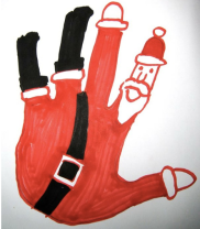 Handprint Santa Falling Blogadilla