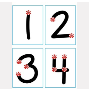 Touch Point Number Cards Holiday Mints by K Bithell