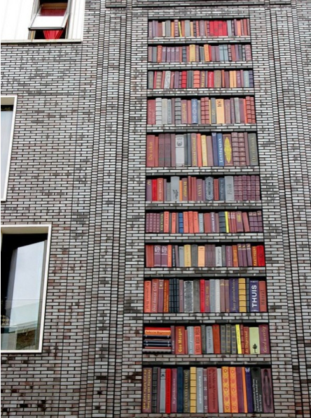 Good Ideas For You 250 Books Stored on Building Facade in Amsterdam