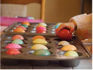 Lakeline Easter eggs in muffin tin